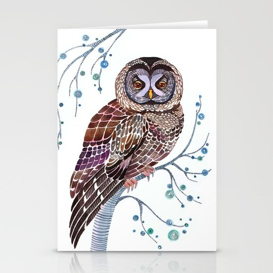 lacy owl Stationery Card