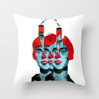 The cats in my head Throw Pillow