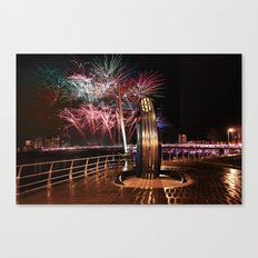 Fireworks at Swansea SA1 Canvas Print