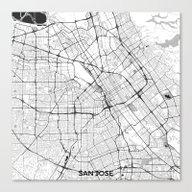 San Jose Map Gray Canvas Print