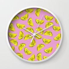 Lemon Slices Pattern Pink Wall Clock