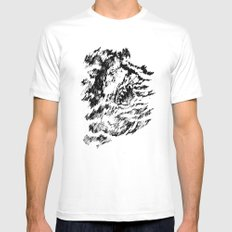 Dark Water SMALL White Mens Fitted Tee