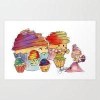 Cupcake Parade Art Print