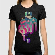 Isyhyrtt Dyymyndd Spyyre Womens Fitted Tee Tri-Black MEDIUM