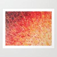 SAILOR'S SUNRISE - Beautiful Modern Abstract Crimson and Pink Nature Sky Sunset Ocean Reflection Art Print
