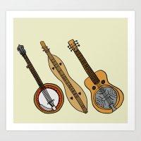 Banjo, Dulcimer, Resonator Art Print