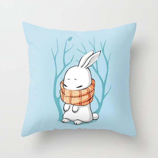 Winter Bunny Throw Pillow