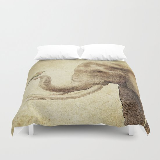 A New Friend (sepia drawing) Duvet Cover
