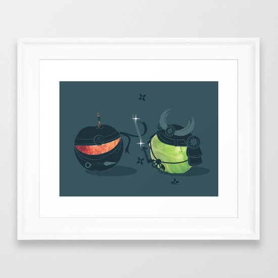 ninja vs samurai Framed Art Print