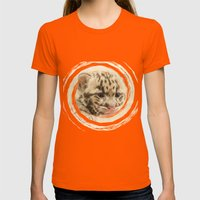 CUTE CLOUDED LEOPARD CUB Womens Fitted Tee Orange SMALL