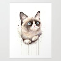 Grumpy Watercolor Cat Art Print