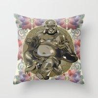 Laughing Buddha Throw Pillow