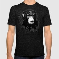 Monkey Business - White Mens Fitted Tee Tri-Black SMALL