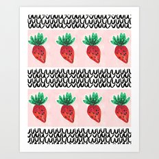Abstract Strawberry Party Art Print