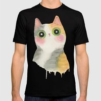 calico cat Mens Fitted Tee Black SMALL