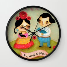 Frida & Diego Painting Wall Clock