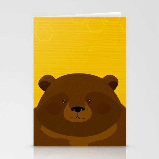 Bees and Bear by Friztin Stationery Card
