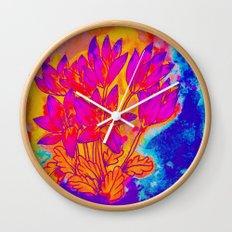 Colchicum Flower Painting Wall Clock