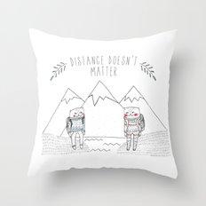 distance cat Throw Pillow