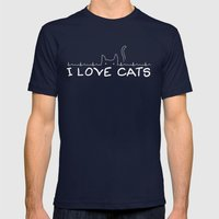 I Love Cats Mens Fitted Tee Navy SMALL