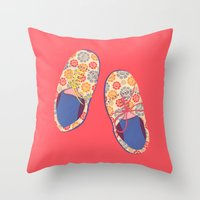 Flowery Shoes Throw Pillow