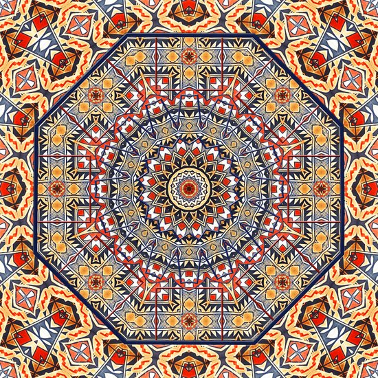Pottery Tile Kaleidoscope Canvas Print