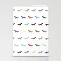 Colorful Horses Lantern Pattern  Stationery Cards