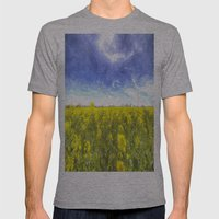 Yellow Fields Of Summer Art Mens Fitted Tee Athletic Grey SMALL