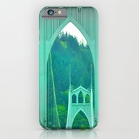 iPhone Cases featuring St. Johns Bridge Portland Oregon by Teresa Chipperfield Studios