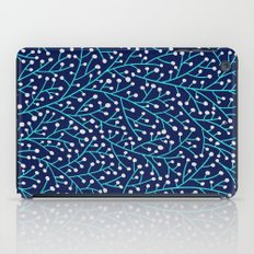 Berry Branches - Turquoise on Navy iPad Case