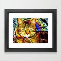 Psychedelic Cat Framed Art Print