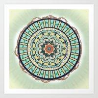 Ribbon Lotus Mandala in Terra and Turquoise Art Print