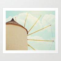 Windmill Villa Santorini… Art Print