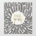 Treat Yo Self – Black & Gold Canvas Print