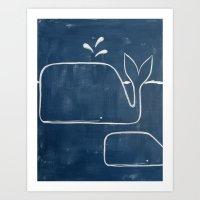 No. 006 - The Whales (Modern Kids & Nursery Art) Art Print