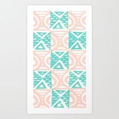 Pink and Blue Lino Print Triangles and Semi-Circles Art Print