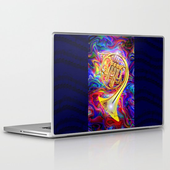 Psychedelic French horn Laptop & iPad Skin
