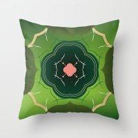 Vintage Tiles Green Throw Pillow