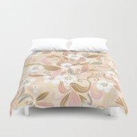 Floral curve pattern, rose gold Duvet Cover