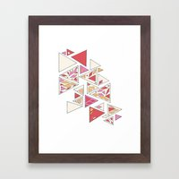 Geometric mosaic triangle pattern - red and pink Framed Art Print