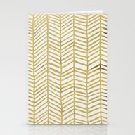 Gold Herringbone Stationery Cards