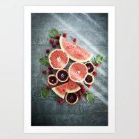 Refreshing - Pink Citrus… Art Print