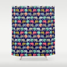baby elephants and flamingos navy Shower Curtain