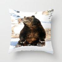 Chillin' Bear Throw Pillow