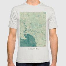 Melbourne Map Blue Vintage Mens Fitted Tee Silver SMALL
