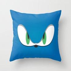 Blue Face Throw Pillow