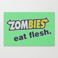 Zombie Eat Flesh Canvas Print