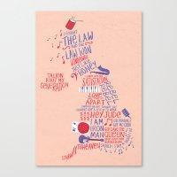 Map Of British Music  Canvas Print
