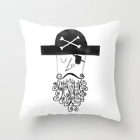 Smug Pirate Throw Pillow