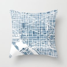 Washington DC Blueprint watercolor map Throw Pillow